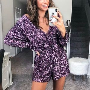 Endless Rose sequin long sleeve wrap romper